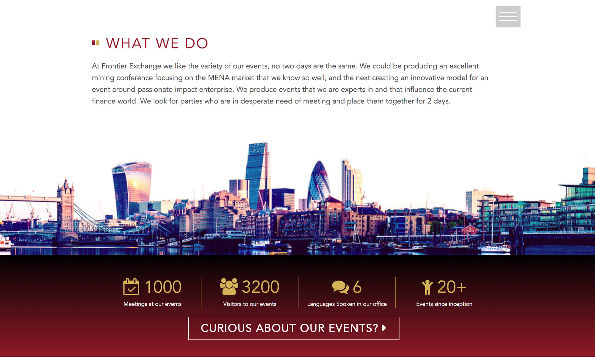website designs frontier exchange events Boca